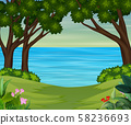 A river landscape in forest background 58236693