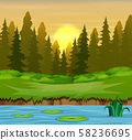 River in the forest and silhouettes background 58236695