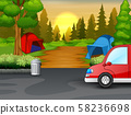 Background of campsite on sunset landscape 58236698