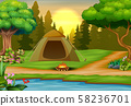 Background of campsite on sunset landscape 58236701