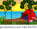 A red tent by the river 58236703