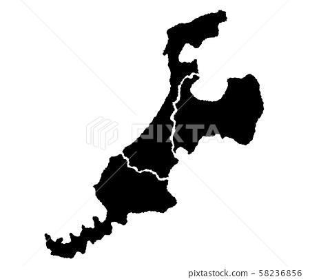 北陸變形地圖地圖輪廓圖 58236856