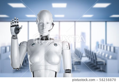 Female cyborg or robot with headset 58238870