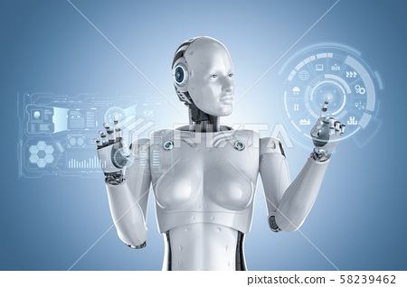 Female cyborg or robot 58239462