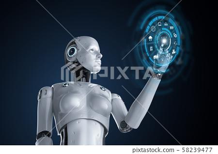 Female cyborg or robot 58239477