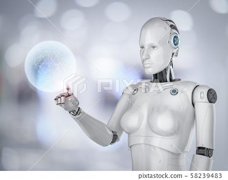 Female Cyborg Or Robot Stock Illustration 58239483 Pixta