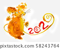 Mouse symbol for 2020, illustration of New Year 58243764