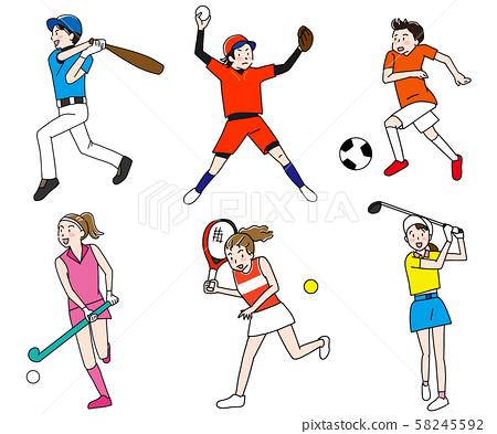 Baseball/tennis/soccer/golf/hockey olympic outdoor ball game illustration set 58245592