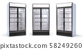 Set of empty showcase refrigerators in the grocery 58249260
