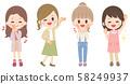年輕女子人物插圖設置全身 58249937