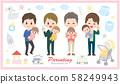 육아 남성 아버지 아기 용품 일러스트 세트 58249943