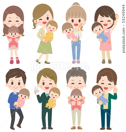 Childcare mother father father family illustration set 58249944