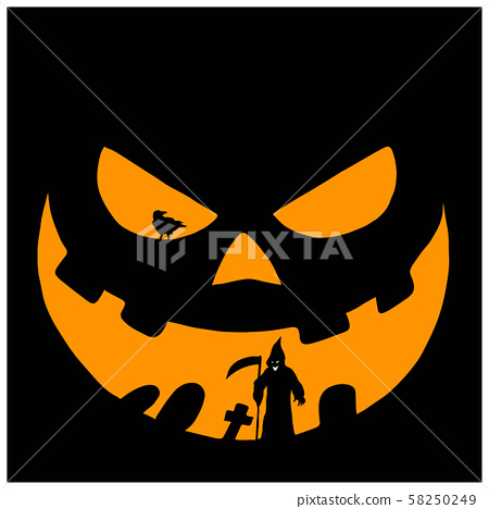 yellow face of Halloween pumpkin with devil and 58250249