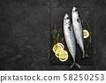 Mackerel. Fresh raw fish with ingredients 58250253