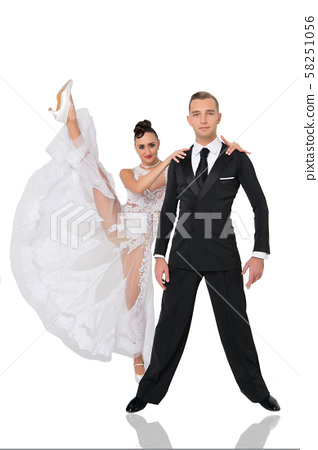 ballrom dance couple in a dance pose isolated on 58251056