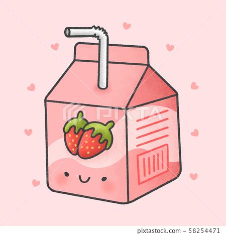 Cute strawberry milk box cartoon hand drawn style 58254471