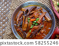 vegetarian food, banana flower vegan fish cook with soy sauce, coconut and tomato 58255246