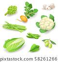Fresh organic vegetables icon set isolated, healthy food, artichoke, turnip, mushrooms, asparagus 58261266