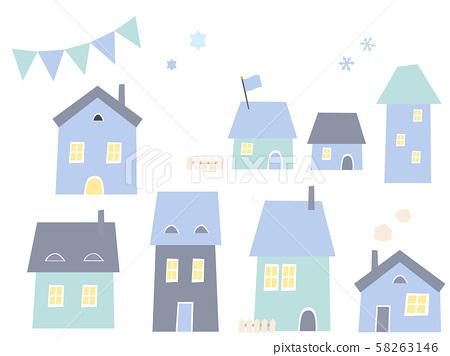 겨울 집 세트 58263146