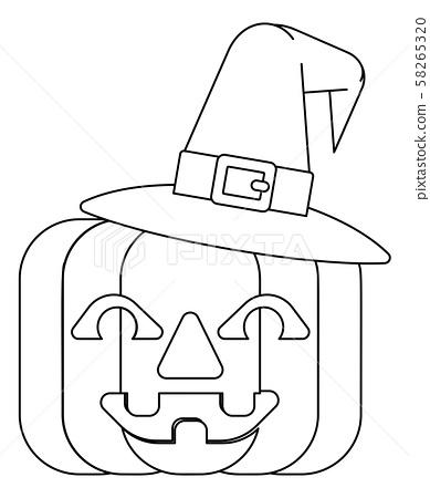 Halloween Witch Hat Pumpkin In Outline Stock Illustration 58265320 Pixta