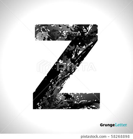 Grunge Vector Letter Z. Black Font Sketch Style Symbol 58268898