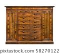vintage wood wardrobe isolated on white 58270122