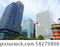 Old red brick building and new business buildings in Chiyoda's Marunouchi business district 58270866