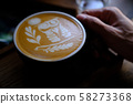 Hand Hold a Cup of Coffee. Menu Drink for Relax on Wood Table Texture and Space for your text. Lifestyle Concept Cafe Design Background.  58273368