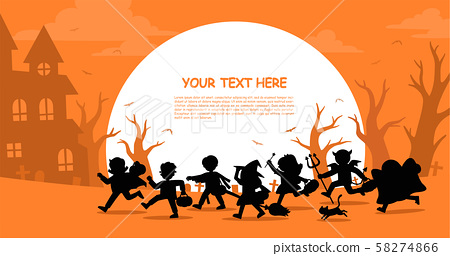 Children in Halloween dress go Trick or Treating. 58274866