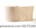 Old style toilet paper on white 58275286