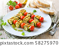 Vegetarian meal: Grilled marinated feta skewers with Greek cheese, courgette and cherry tomatoes 58275970