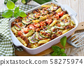 Zucchini pasta casserole with mince and cheese served hot from the oven 58275974