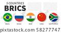 BRICS . Association of 5 countries . Flat simple 58277747