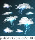 Realistic clouds with lightning set on transparent background. Thunderstorm and lightning bolt 58278183