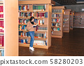 Young girl standing in library near bookshelves 58280203