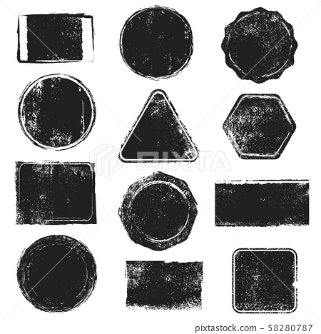 Grunge stamps. Distressed post stamp texture. Round, rectangular, triangular and hexagonal scratched 58280787