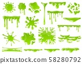 Green cartoon slime. Goo blob splashes, sticky dripping mucus. Slimy drops, messy borders for 58280792