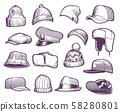 Sketch hats. Fashion mens caps design. Sports and knitted, baseball and trucker cap, seasonal 58280801