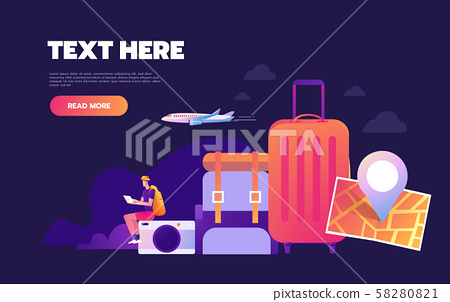 Traveling the world, worldwide adventure, around the world trip concept. Landing web page with 58280821