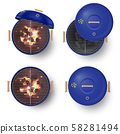 Round blue barbecue grill top view realistic vector illustration set. Burning coals. 58281494