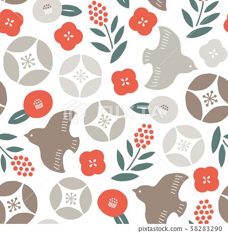 別緻和成人可愛的花鳥日本圖案紅色無盡 58283290