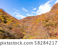 Aerial view Autumn of Usui Pass Autumn mountains and blue sky 58284217