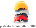 Safety helmet stacked on isolated. 58286980