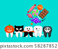 Cartoon spooky tooth in Halloween costumes with candies. 58287852