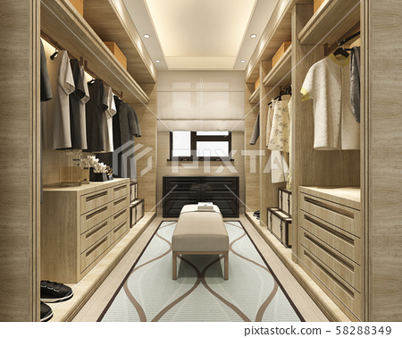 3d rendering minimal scandinavian wood walk in closet with wardrobe 58288349