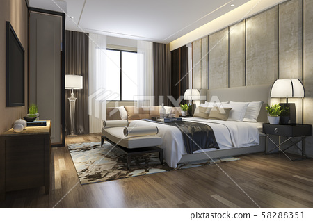 3d rendering beautiful luxury bedroom suite in hotel with tv and working table 58288351
