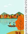 가을 여행 벡터 일러스트 - 호수 위 나룻배 58291255