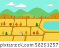 秋季旅行矢量圖金色領域 58291257