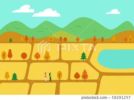 秋季旅行矢量图金色领域 58291257