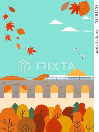 가을 여행 벡터 일러스트 - 기차 58291258